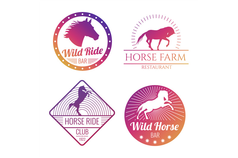 colorful-horse-and-mare-emblems-isolated-on-white-background