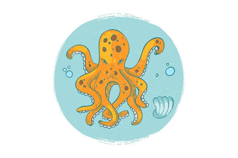 cartoon-character-octopus-emblem-grunge-vector-ocean-animal-logo