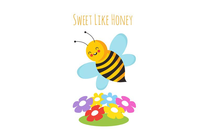 cartoon-flying-bees-cute-bee-and-flower-honeybee-vector-background