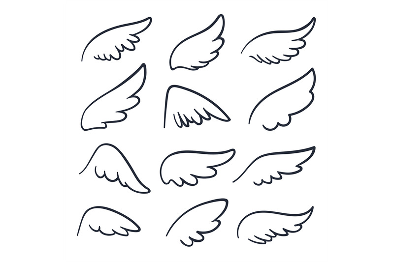 cartoon-angel-wings-winged-doodle-sketch-icons-angels-and-bird-vecto
