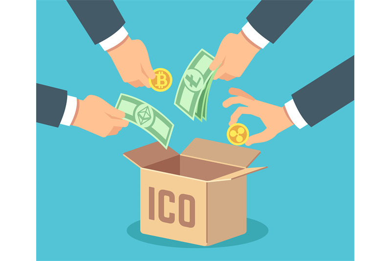 ico-concept-token-bank-blockchain-technology-ethereum-and-bitcoin-c