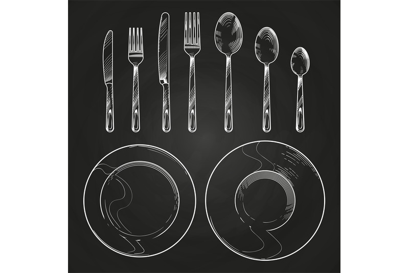 vintage-knife-fork-spoon-and-dishes-in-sketch-engraving-style-hand