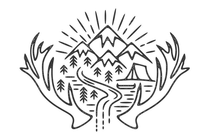 mountains-camping-grunge-logo