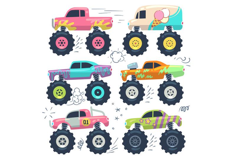 monster-trucks-kids-car-toys-cartoon-vector-set