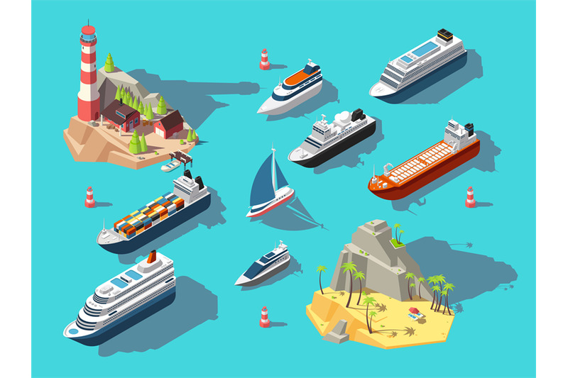 isometric-ships-boats-and-sailing-vessels-ocean-tropical-island-with