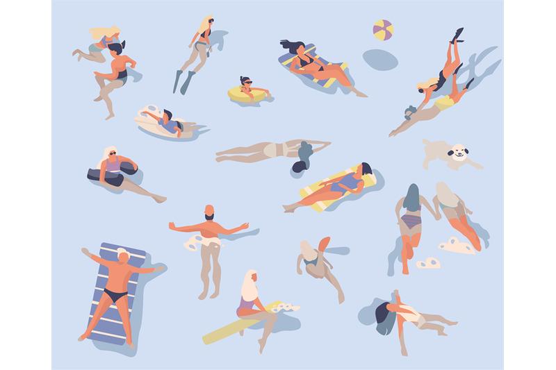 swimming-people-cartoon-characters-doing-summer-activities-in-water