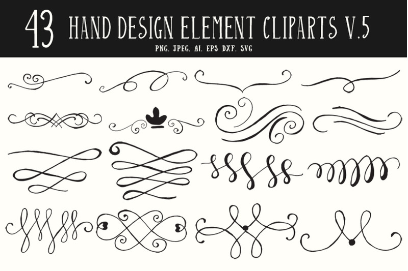 40-hand-design-element-cliparts-ver-5