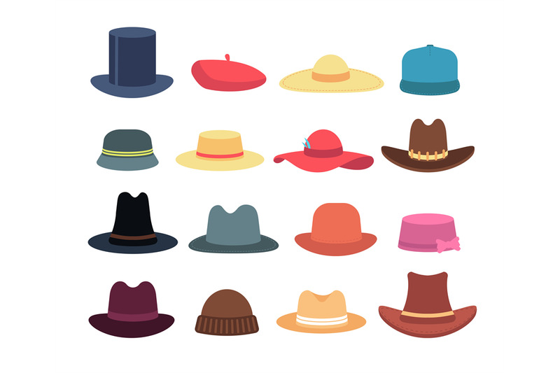 man-and-woman-hats-cartoon-hat-and-cap-headdress-vector-isolated-coll