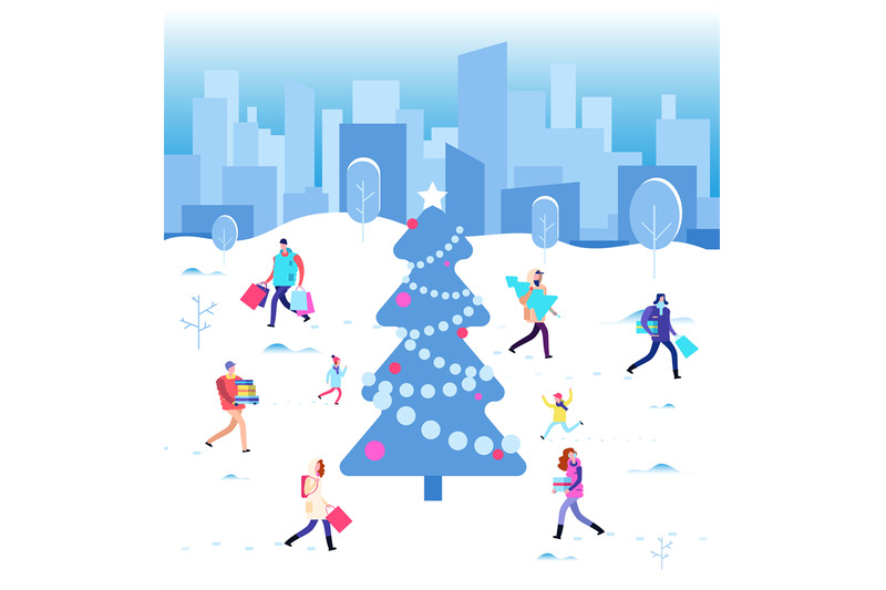 happy-christmas-holiday-winter-people-walking-at-city-christmas-tree