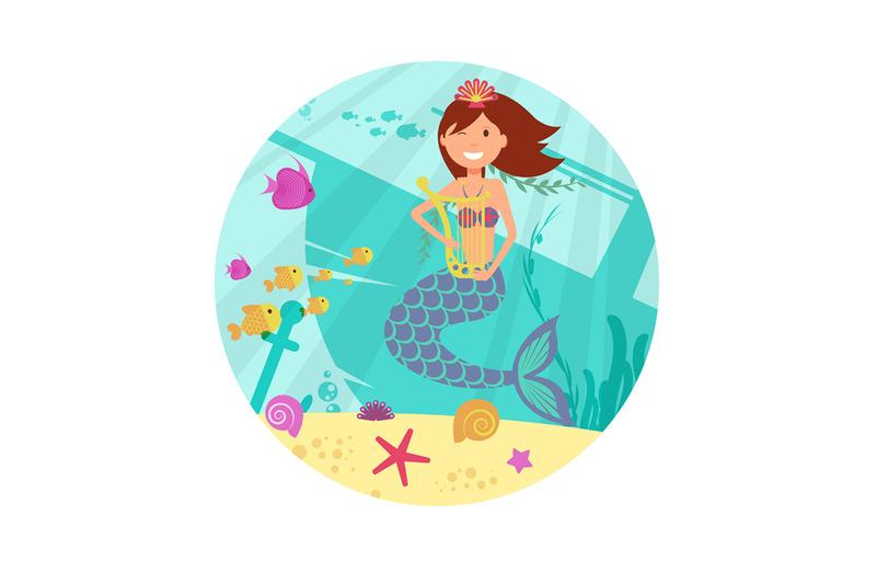 cartoon-smile-mermaid-vector-banner-sealife-illustration