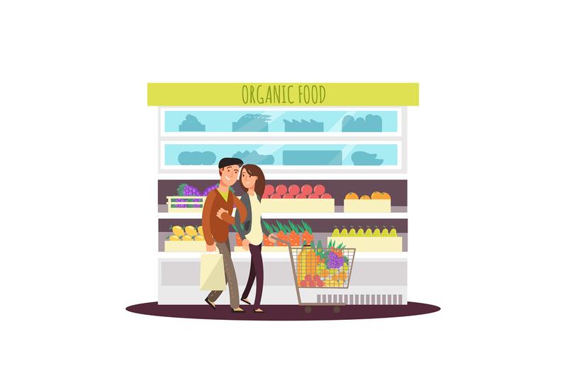 cartoon-character-happy-couple-buy-organic-fruits-and-greens-vegetari