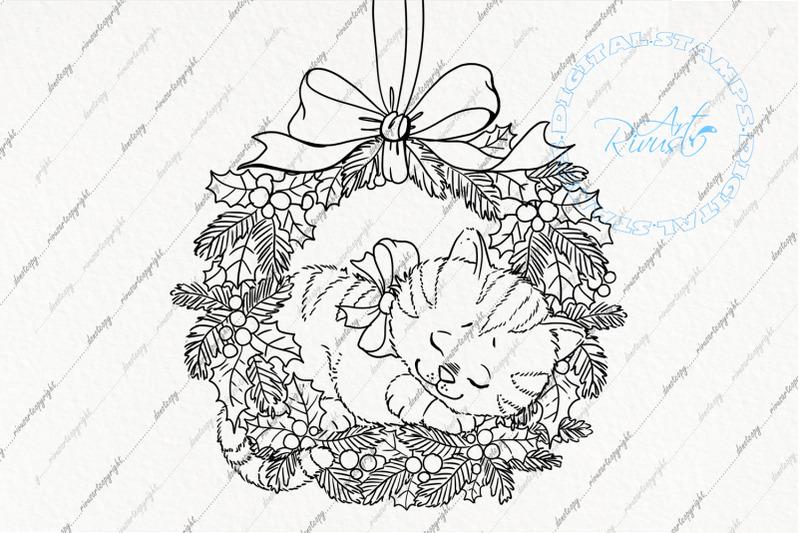 digital-stamp-download-christmas-digi-stamp-cute-kitten-in-wreath-nbsp-c