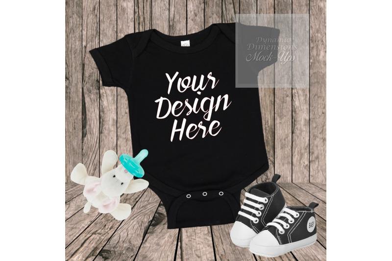 Free Blank Black Baby Onesie Mockup, Fashion Design Styled Stock Photograp (PSD Mockups)