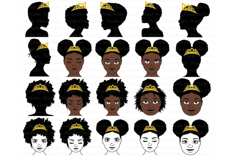 black-princesses-and-queen-with-crown-svg-afro-puff-crown-svg