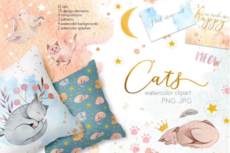watercolor-cats-illustrations-clipart