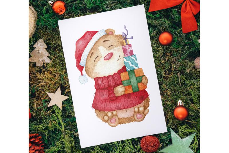 watercolor-christmas-set-characters-clipart-illustrations-santa-claus