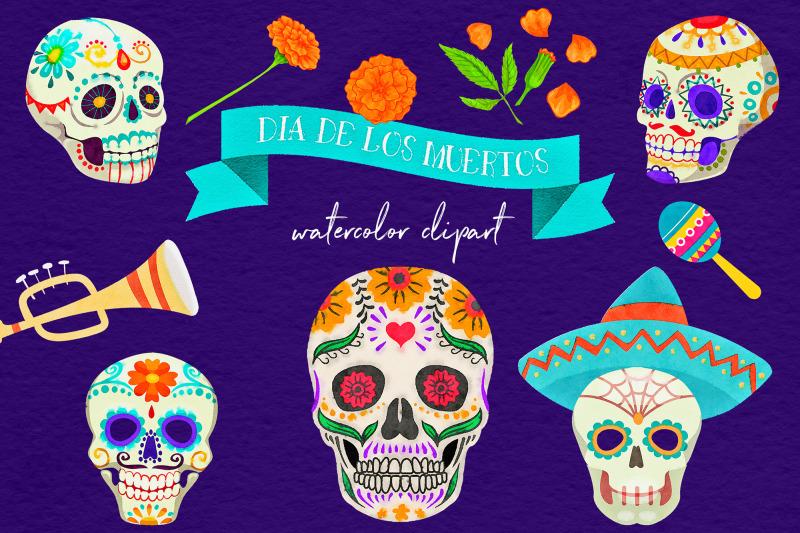 dia-de-los-muertos-watercolor-clipart