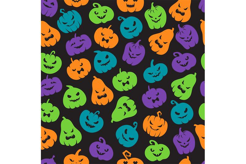halloween-pumpkins-seamless-pattern-scary-jack-o-lantern-face-silhoue
