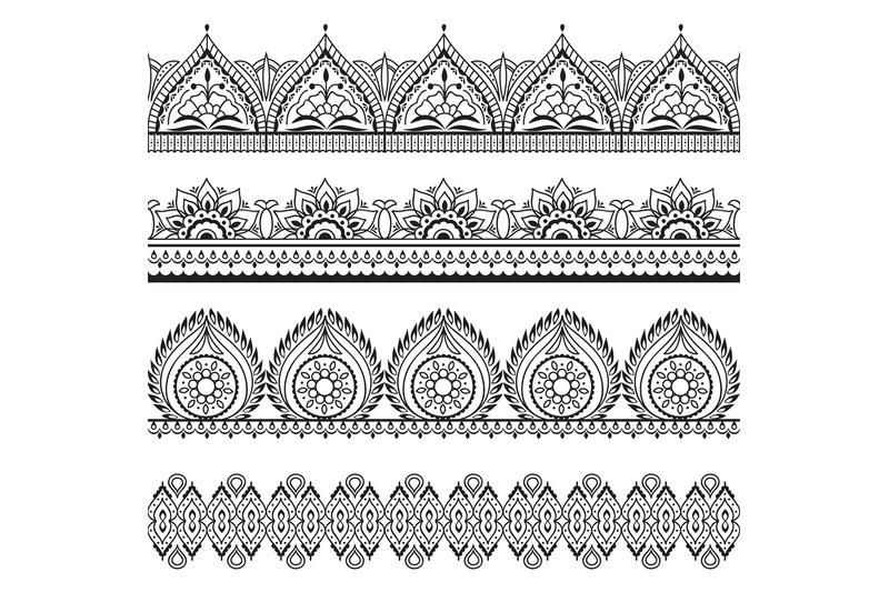 mehndi-seamless-borders-henna-oriental-patterns-indian-floral-vector