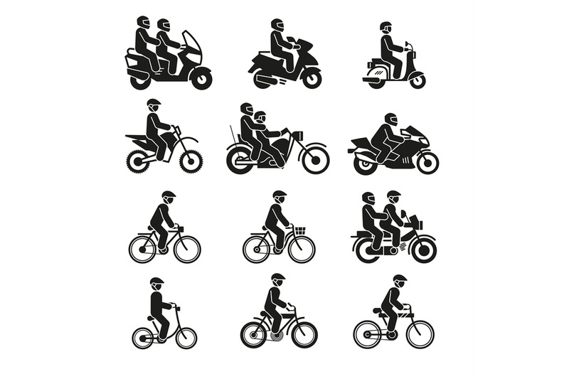 motorcycles-and-bicycles-icons-moto-vehicles-with-persons-biker-and-c