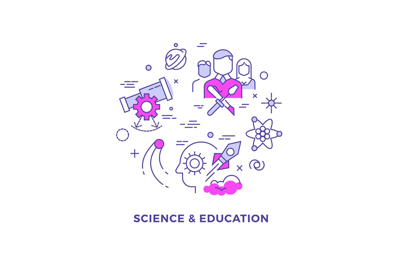science-and-education-flat-line-vector-concept