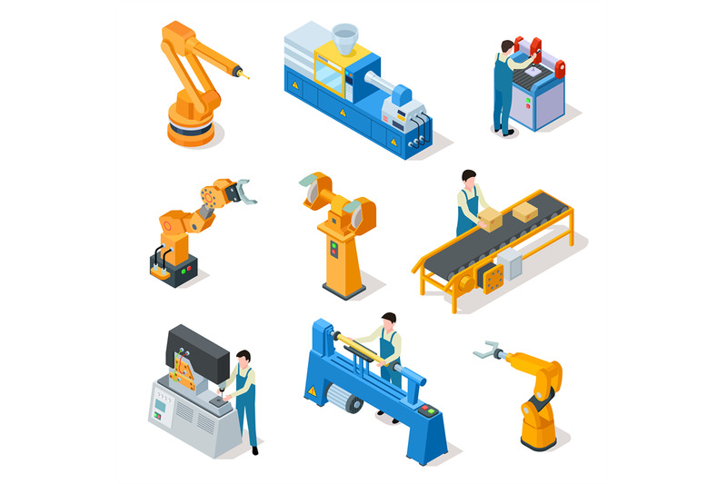 industrial-robots-isometric-machines-assembly-line-elemets-and-robot