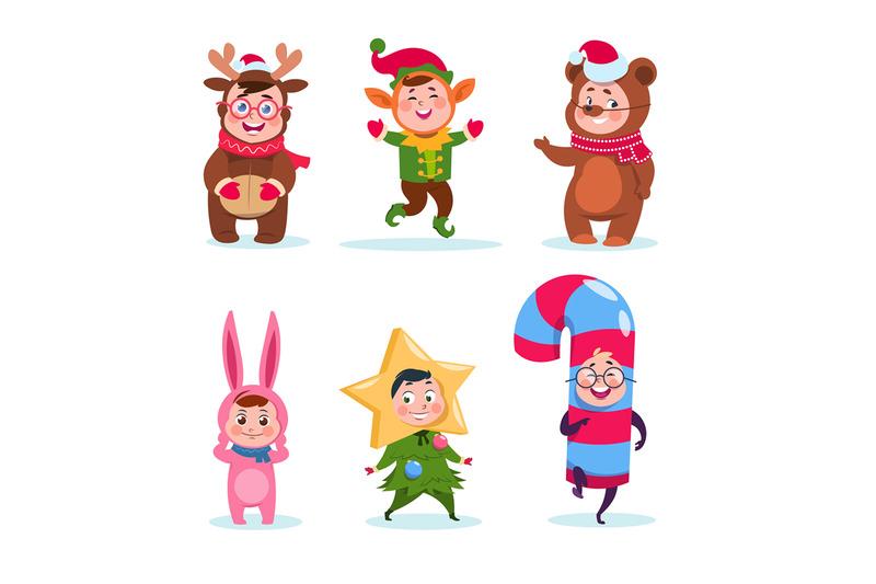 kids-wearing-christmas-costumes-cartoon-happy-children-greeting-chris