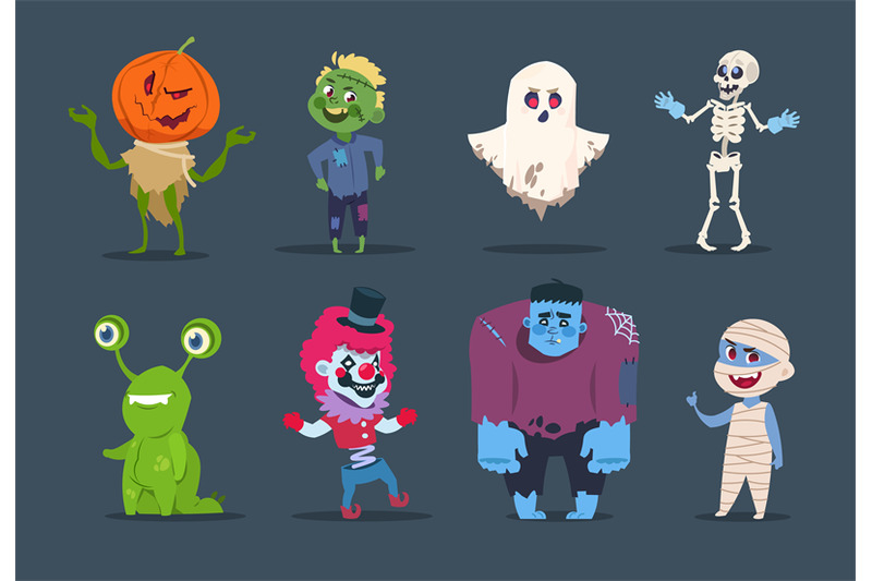 halloween-characters-cute-monsters-and-kids-dressing-in-halloween-cos