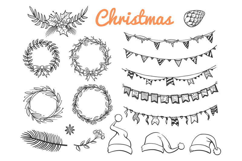 big-sketch-christmas-symbols-vector-elements-isolated-on-white-backgro