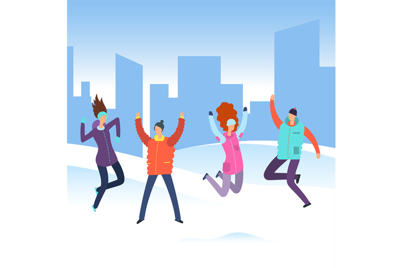 cartoon-people-in-winter-clothes-on-city-landscape