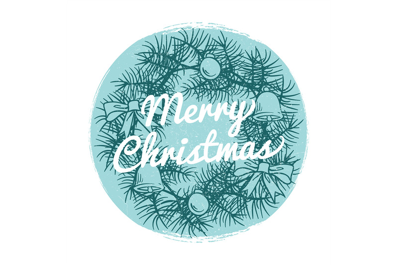 round-vintage-christmas-banner-with-hand-drawn-wreath-and-text-merry-c