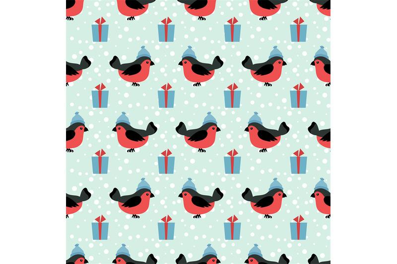 winter-holidays-seamless-pattern-with-cartoon-bullfinch-in-hat