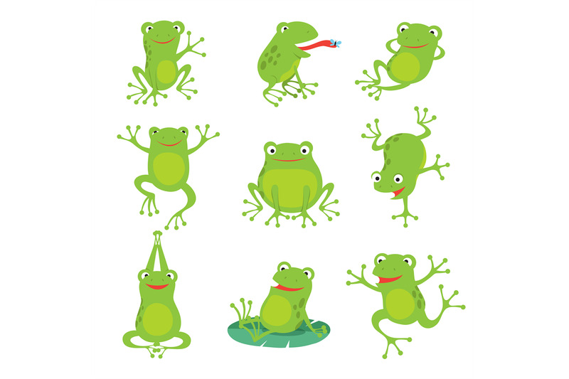 cute-cartoon-frogs-green-croaking-toad-on-lotus-leaves-in-pond-vecto