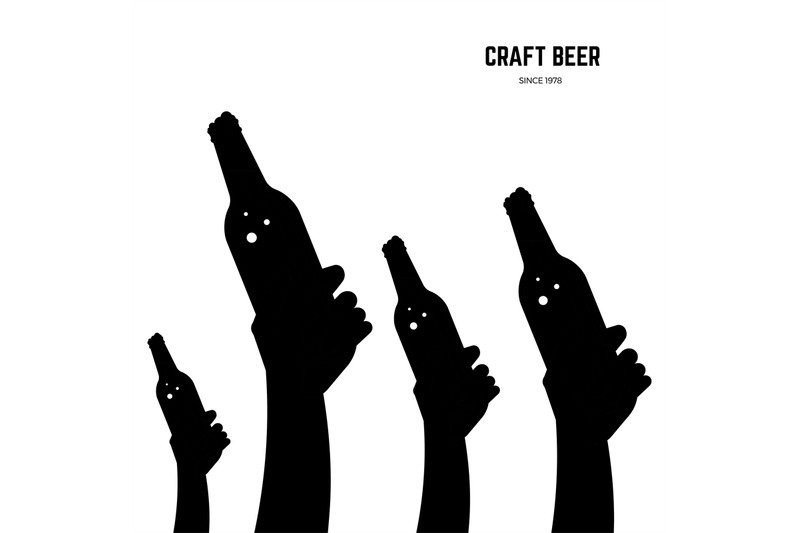 hands-with-beer-bottles-black-vector-silhouettes