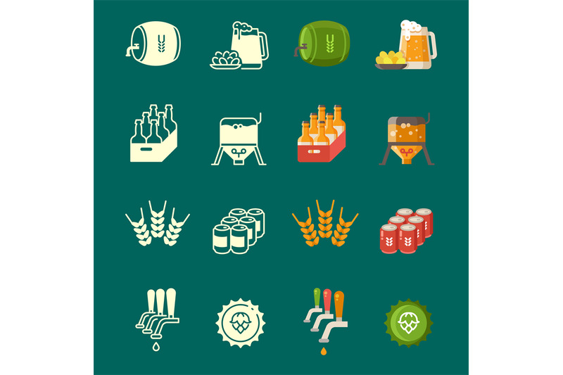 silhouettes-and-colorful-flat-vector-beer-icons-set