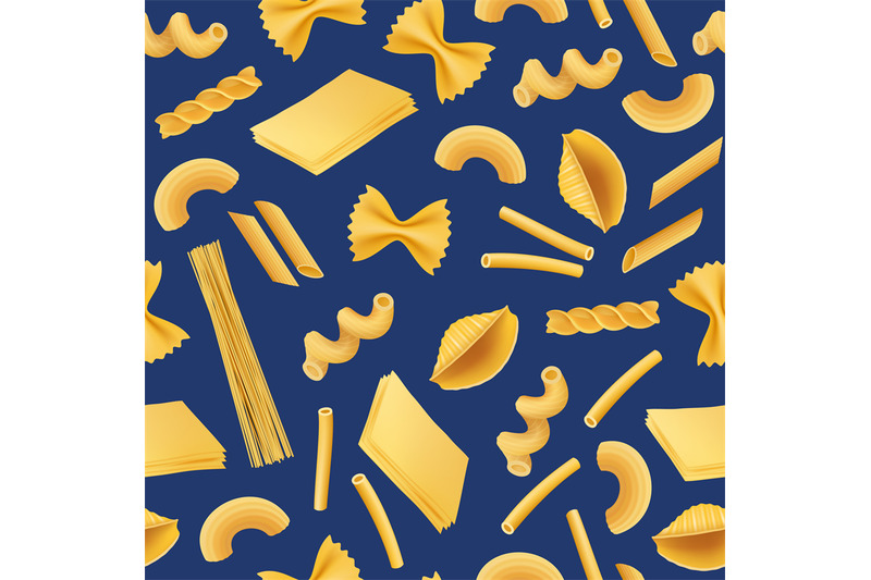 vector-realistic-pasta-types-pattern-or-background-illustration