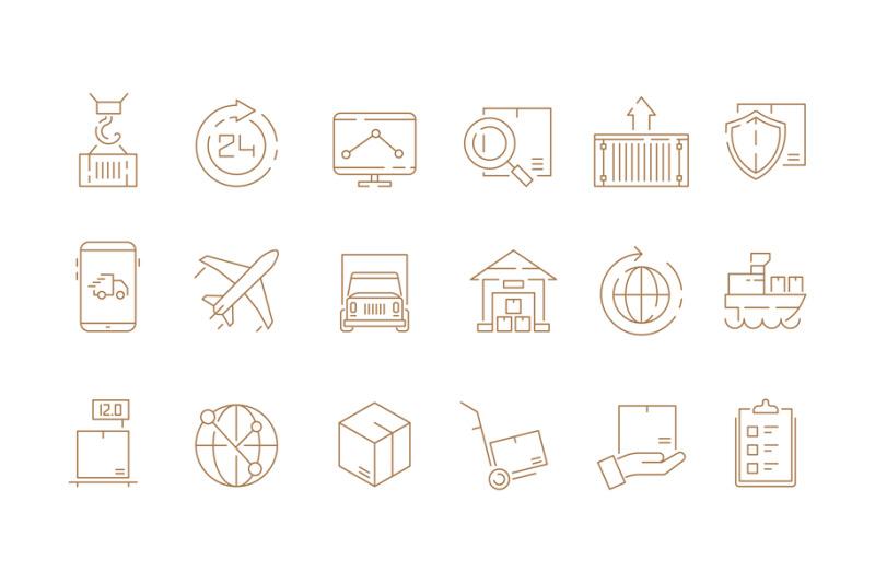 logistic-thin-symbols-delivering-boxes-and-transport-van-free-shipmen