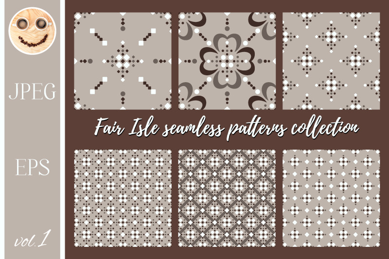 fair-isle-white-beige-brown-seamless-pattern-set