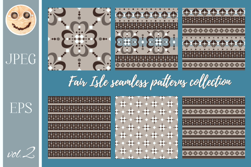 fair-isle-beige-brown-blue-white-seamless-pattern-set