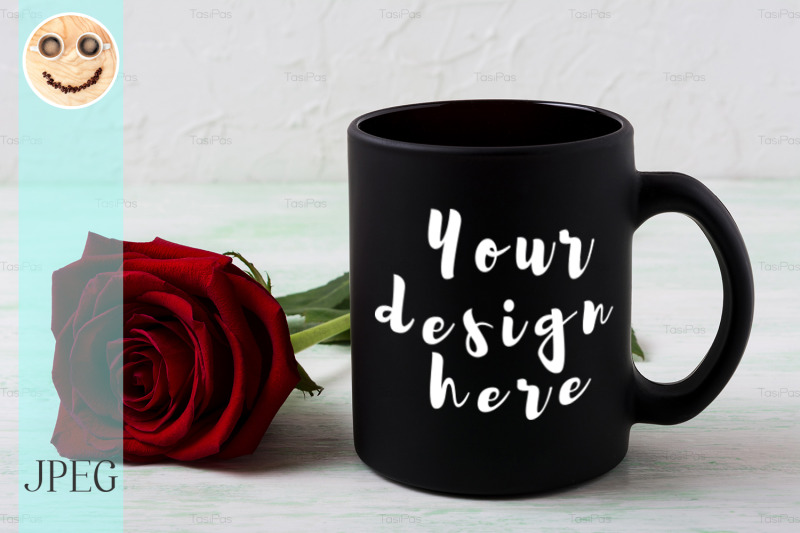 Free Black coffee mug mockup with red rose (PSD Mockups)