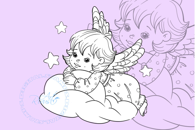 angel-digital-stamp-cute-christmas-digi-stamp-download-coloring-page