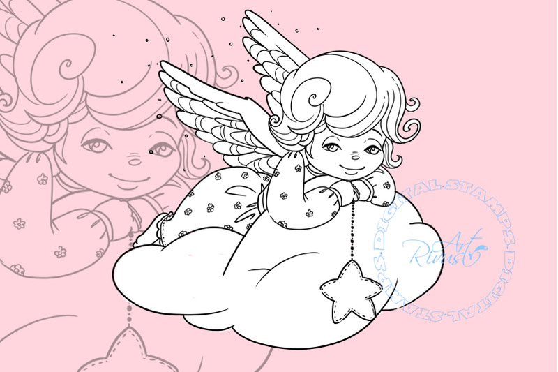 angel-digital-stamp-cute-christmas-digi-stamp-download-coloring-pag
