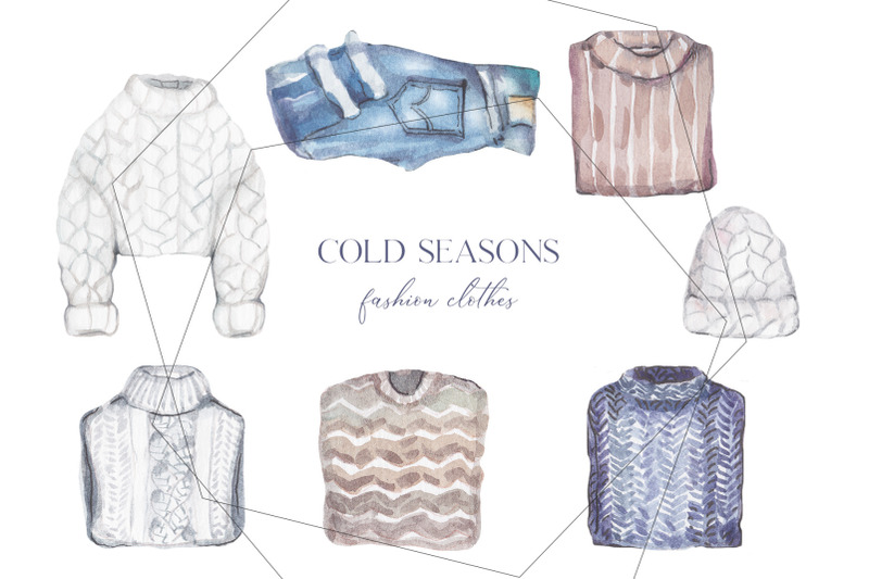 trendy-watercolor-winter-and-autumn-clothes-set