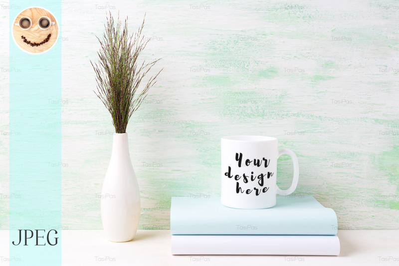 white-coffee-mug-mockup-with-dark-meadow-grass-in-vase-and-books