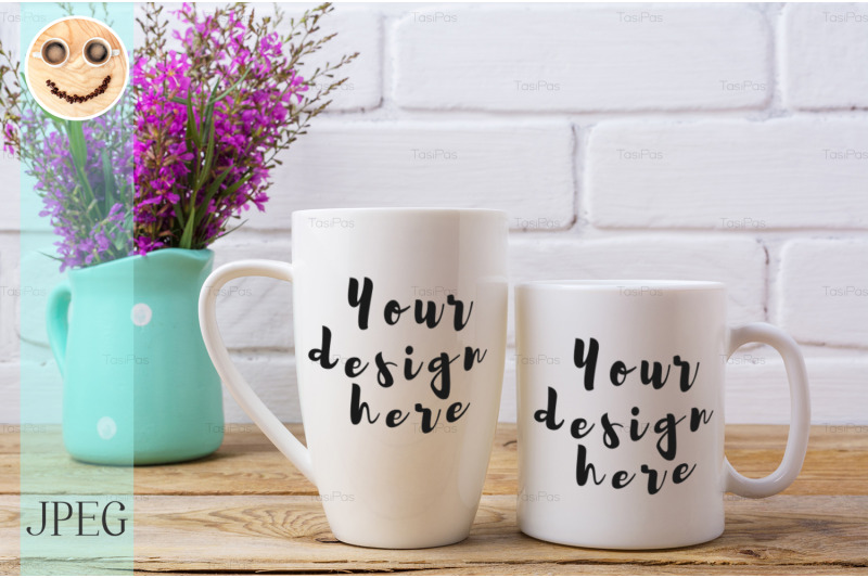 Free Two white coffee and cappuccino mug mockup with maroon purple flowers (PSD Mockups)