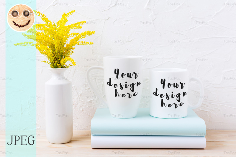 two-white-coffee-and-cappuccino-mug-mockup-with-ornamental-grass