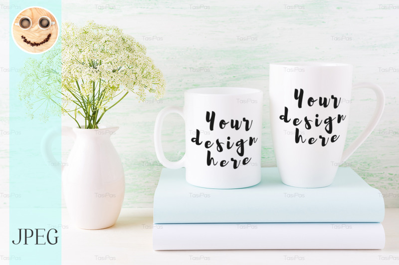 two-white-mugs-mockup-with-books-and-white-flowers-in-pitcher