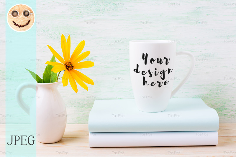white-cappuccino-mug-mockup-with-yellow-rosinweed-flowers-in-pitcher
