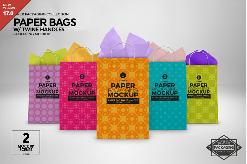 Free Paper Bags Twine Handles Mockup (PSD Mockups)