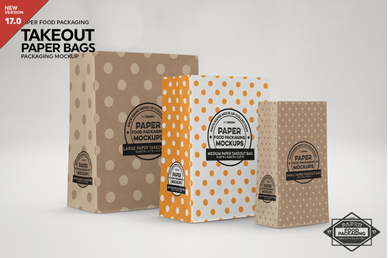 Free Paper Takeout Bags Packaging Mockup (PSD Mockups)